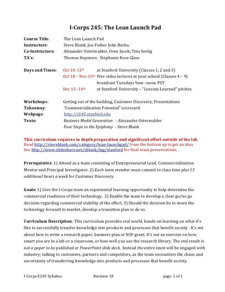 I corps e245 syllabus rev 18