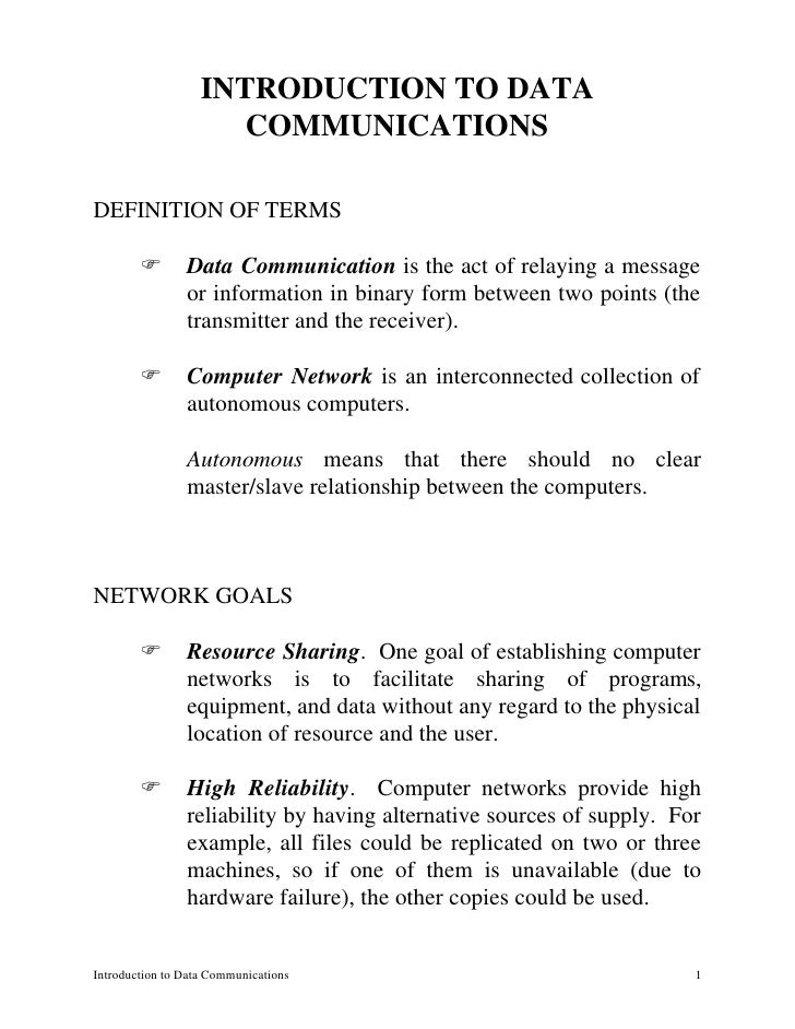 I  Introduction To Data Communications
