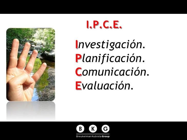 I.P.C.E. Investigación. Planificación. Comunicación. Evaluación.