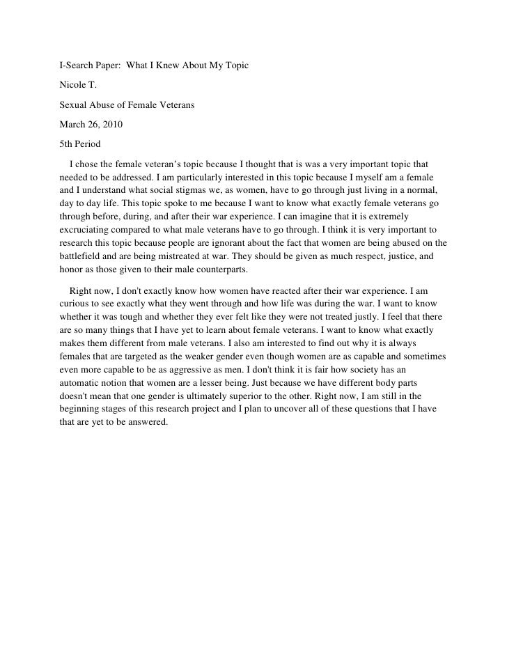 I-Search Paper:  What I Knew About My Topic