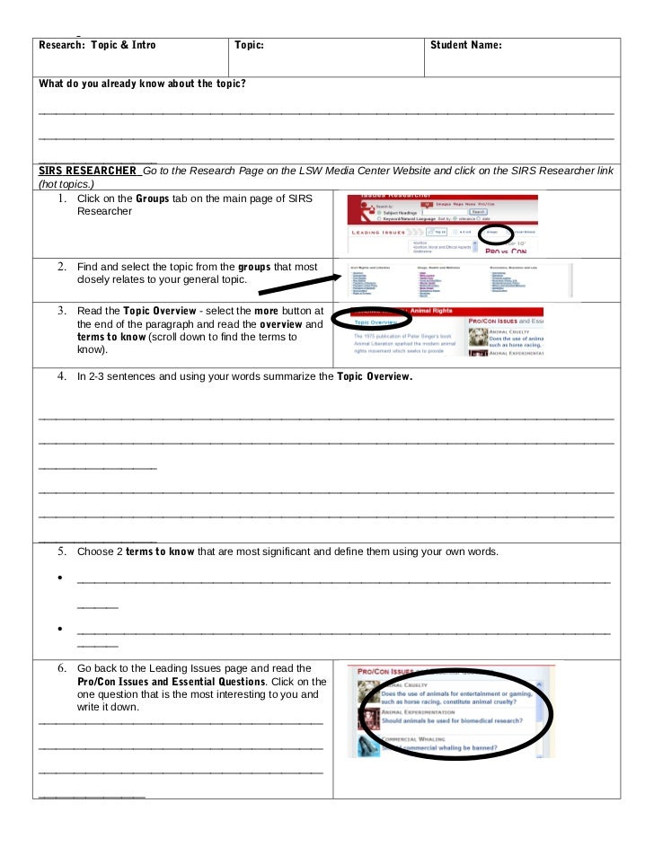 Research: Topic & Intro                   Topic:                              Student Name:What do you already know about ...