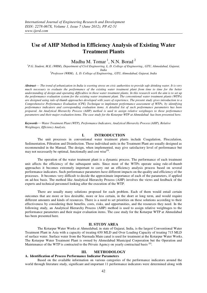 Use of AHP Method in Efficiency Analysis of Existing Water Treatment Plants