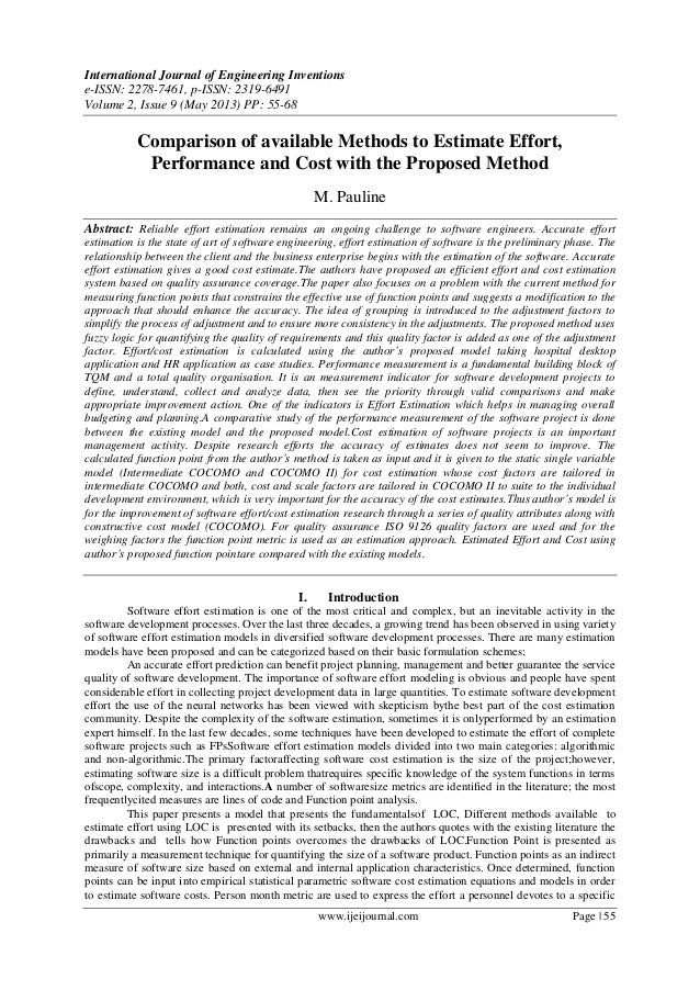 Comparison of available Methods to Estimate Effort, Performance and Cost with the Proposed Method