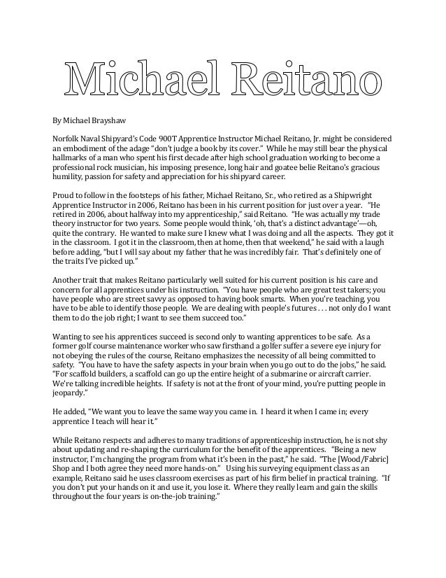 I025 writing feature michael brayshaw