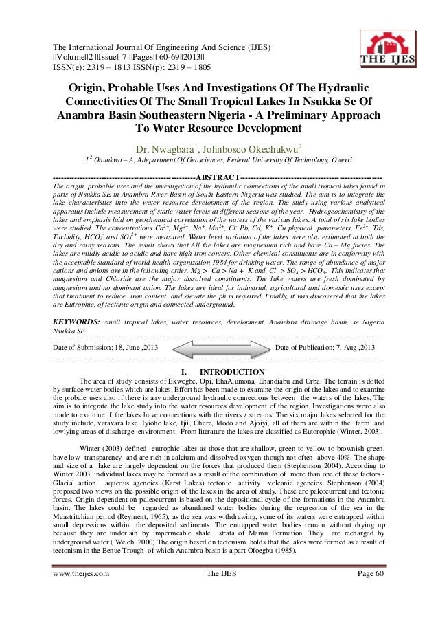 The International Journal Of Engineering And Science (IJES) ||Volume||2 ||Issue|| 7 ||Pages|| 60-69||2013|| ISSN(e): 2319 ...