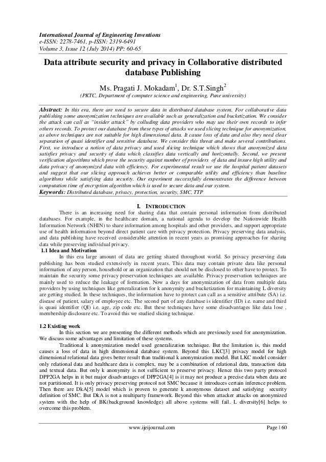 Data attribute security and privacy in Collaborative distributed database Publishing