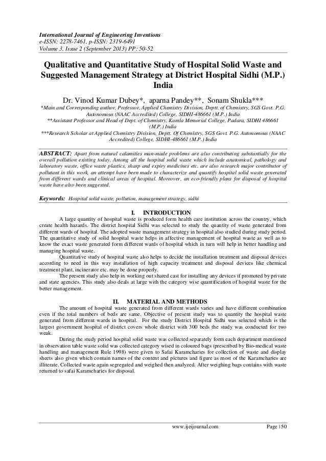 Qualitative and Quantitative Study of Hospital Solid Waste and Suggested Management Strategy at District Hospital Sidhi (M.P.) India