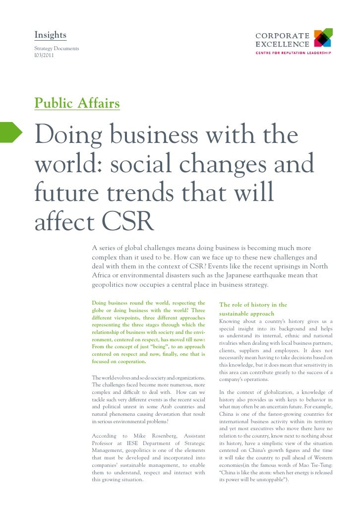 Doing business with the world social change and future trends that will afffect CSR