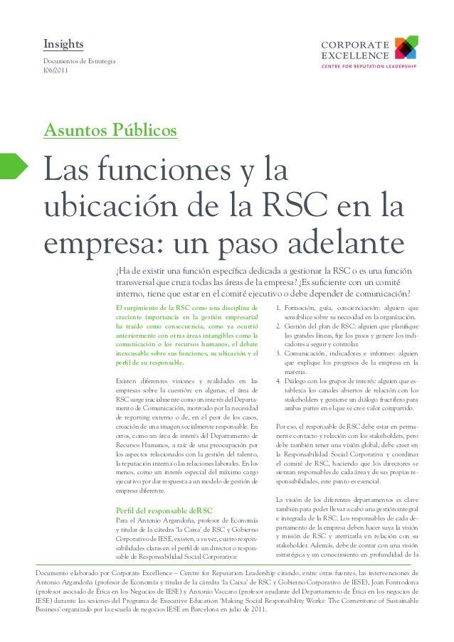 Las funciones y la ubicación de la RSC  en la empresa  un paso adelante-