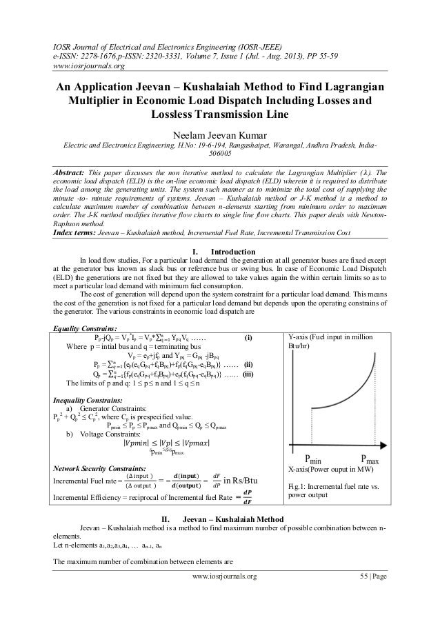 An Application Jeevan – Kushalaiah Method to Find Lagrangian Multiplier in Economic Load Dispatch Including Losses and Lossless Transmission Line