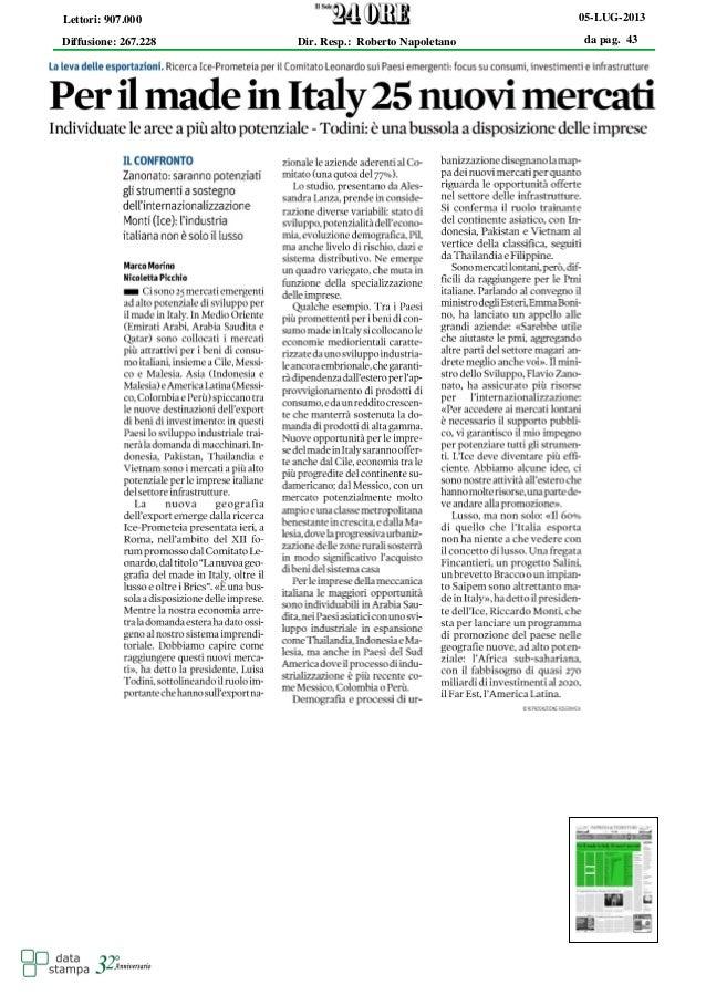 """Per il """"Made in Italy"""" 25 nuovi Mercati"""