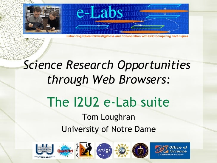 Science Research Opportunities  through Web Browsers: The I2U2 e-Lab suite Tom Loughran University of Notre Dame