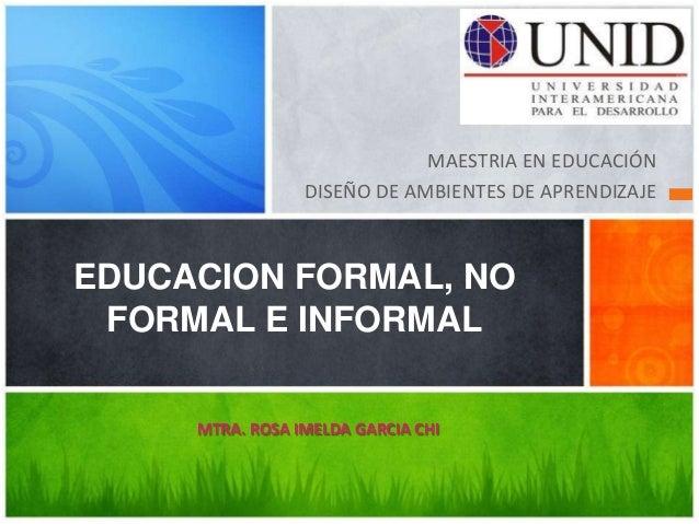 MAESTRIA EN EDUCACIÓN                 DISEÑO DE AMBIENTES DE APRENDIZAJEEDUCACION FORMAL, NO FORMAL E INFORMAL     MTRA. R...