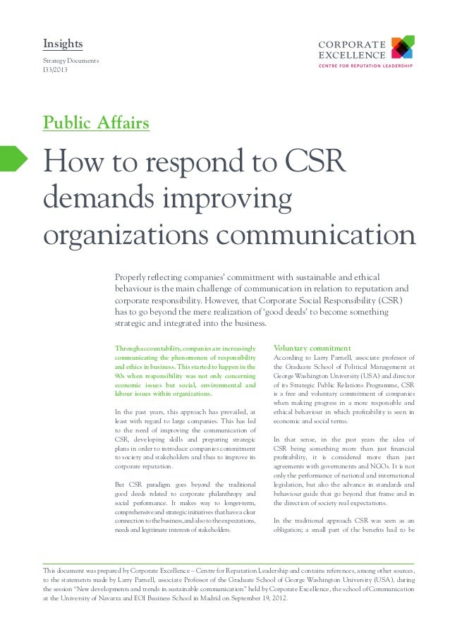 Insights Strategy Documents I33/2013  Public Affairs  How to respond to CSR demands improving organizations communication ...