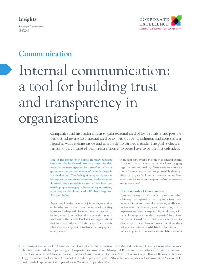 Insights Strategy Documents I34/2013  Communication  Internal communication: a tool for building trust and transparency in...