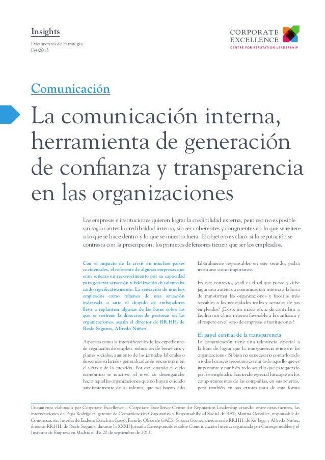 La comunicación interna, herramienta de generación de confianza y transparencia en las organizaciones