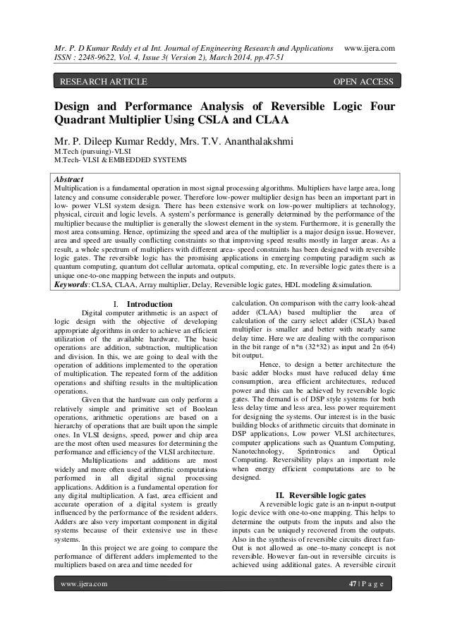 Mr. P. D Kumar Reddy et al Int. Journal of Engineering Research and Applications www.ijera.com ISSN : 2248-9622, Vol. 4, I...