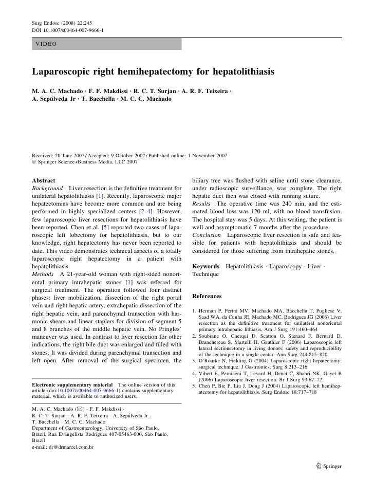 Laparoscopic liver surgery - right hepatectomy