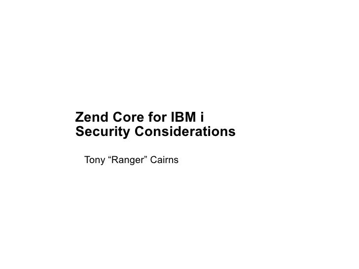 Zend Core on IBM i - Security Considerations