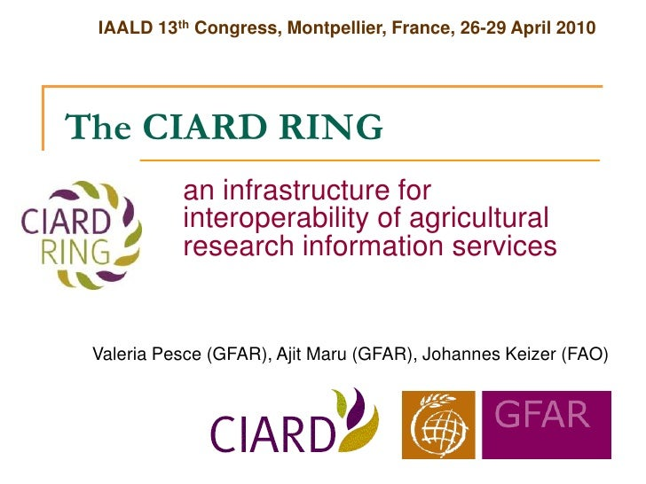 IAALD 13th Congress, Montpellier, France, 26-29 April 2010     The CIARD RING            an infrastructure for            ...