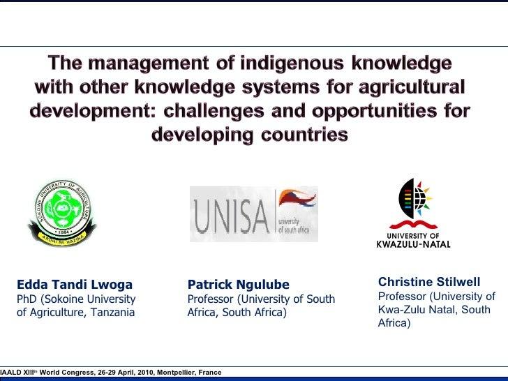 Patrick Ngulube Professor (University of South Africa, South Africa)  Edda Tandi Lwoga PhD (Sokoine University  of Agricul...