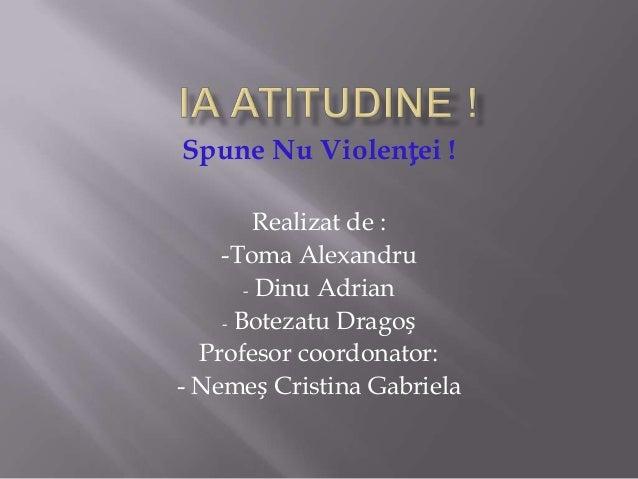 Spune Nu Violenței ! Realizat de : -Toma Alexandru - Dinu Adrian - Botezatu Dragoș Profesor coordonator: - Nemeș Cristina ...