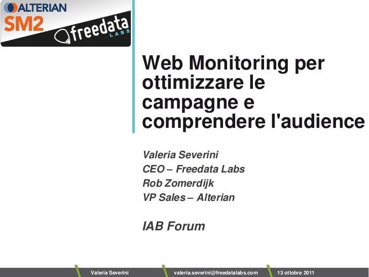 Web Monitoring per                   ottimizzare le                   campagne e                   comprendere laudience  ...