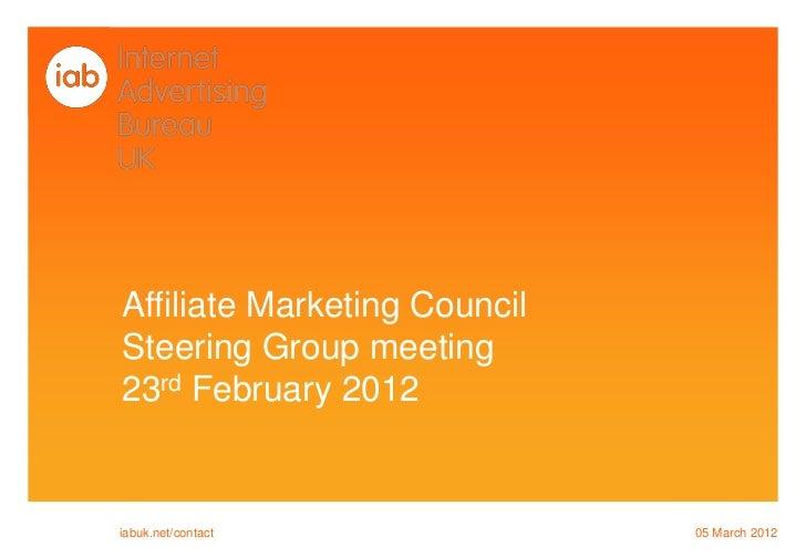 IAB AMC Steering Group Meeting  Feb 2012