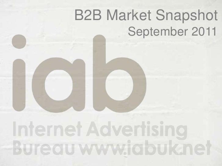 B2B Market Snapshot<br />September 2011<br />