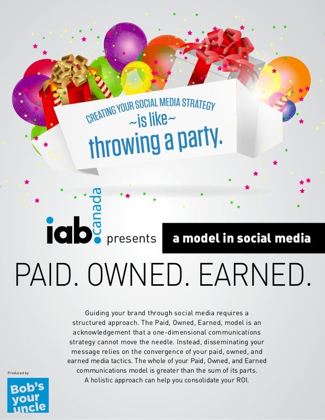 presents  a model in social media  PAID. OWNED. EARNED. Produced by  Guiding your brand through social media requires a st...