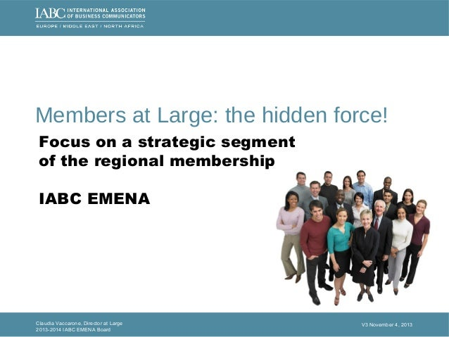 IABC 2013 MEMBERS AT LARGE Survey and analysis- IABC EMENA