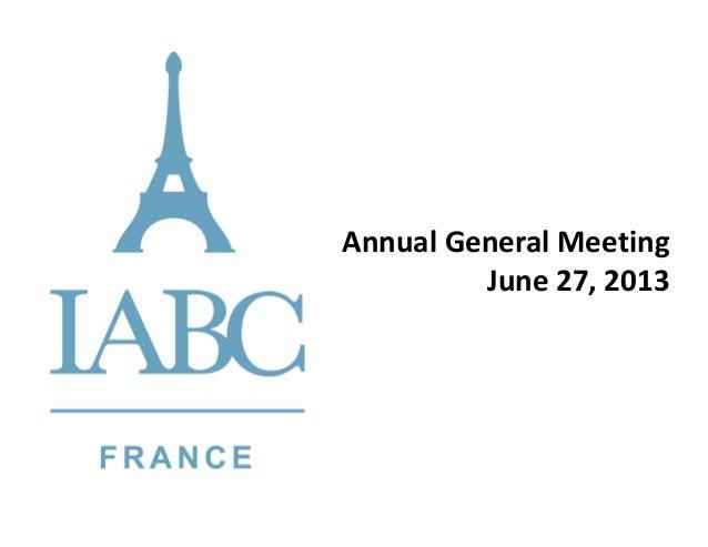 IABC France AGM June 2013