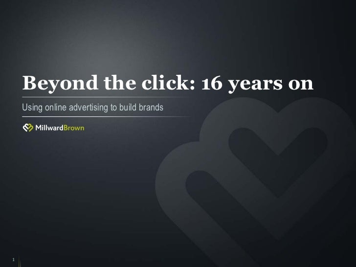 Beyond the click: 16 years on    Using online advertising to build brands1