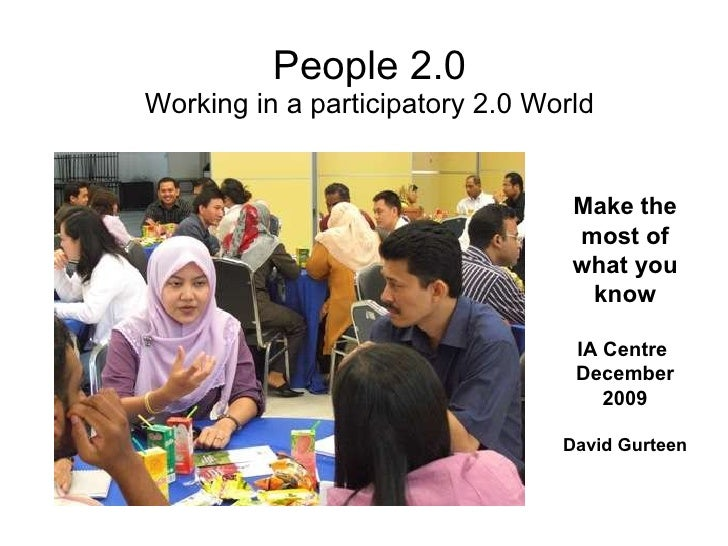 People 2.0 Working in a participatory 2.0 World Make the most of what you know IA Centre  December 2009 David Gurteen