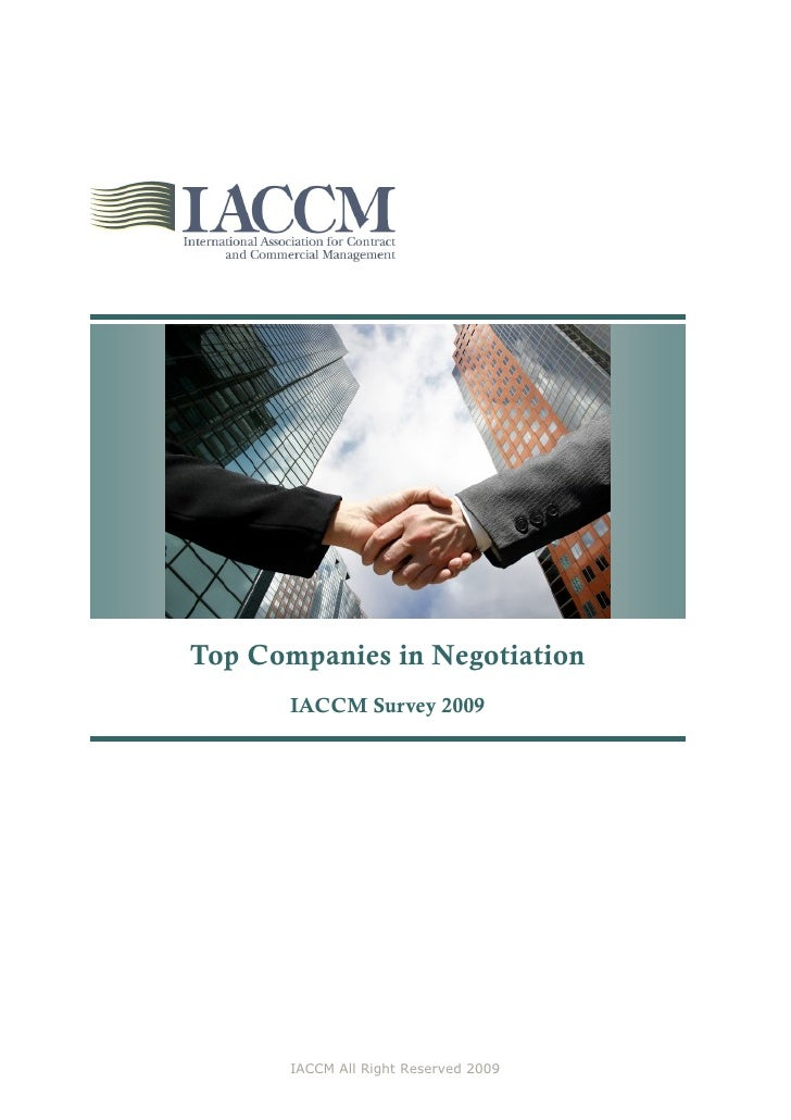 Top Companies in Negotiation        IACCM Survey 2009            IACCM All Right Reserved 2009