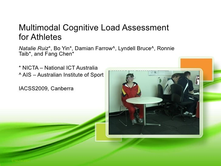 Multimodal Cognitive Load Assessment  for Athletes Natalie Ruiz *, Bo Yin*, Damian Farrow^, Lyndell Bruce^, Ronnie Taib*, ...