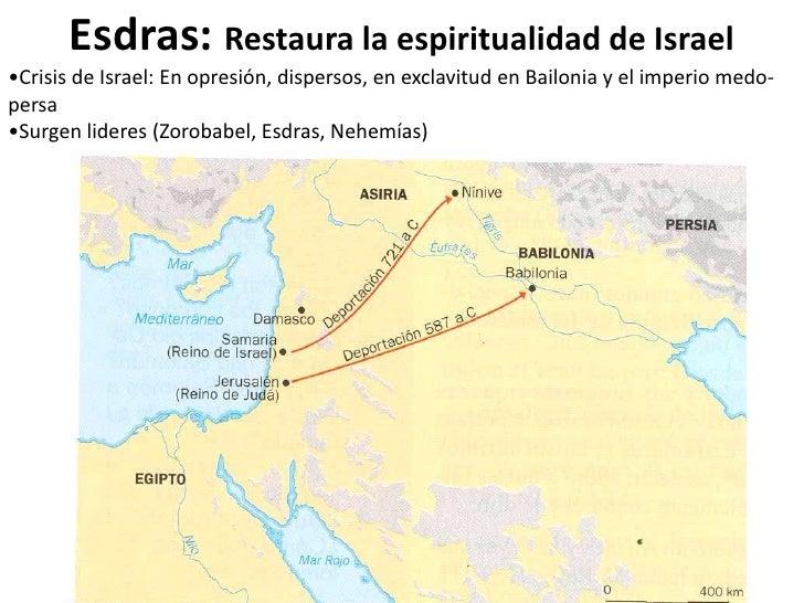 Esdras: Restaura la espiritualidad de Israel•Crisis de Israel: En opresión, dispersos, en exclavitud en Bailonia y el impe...