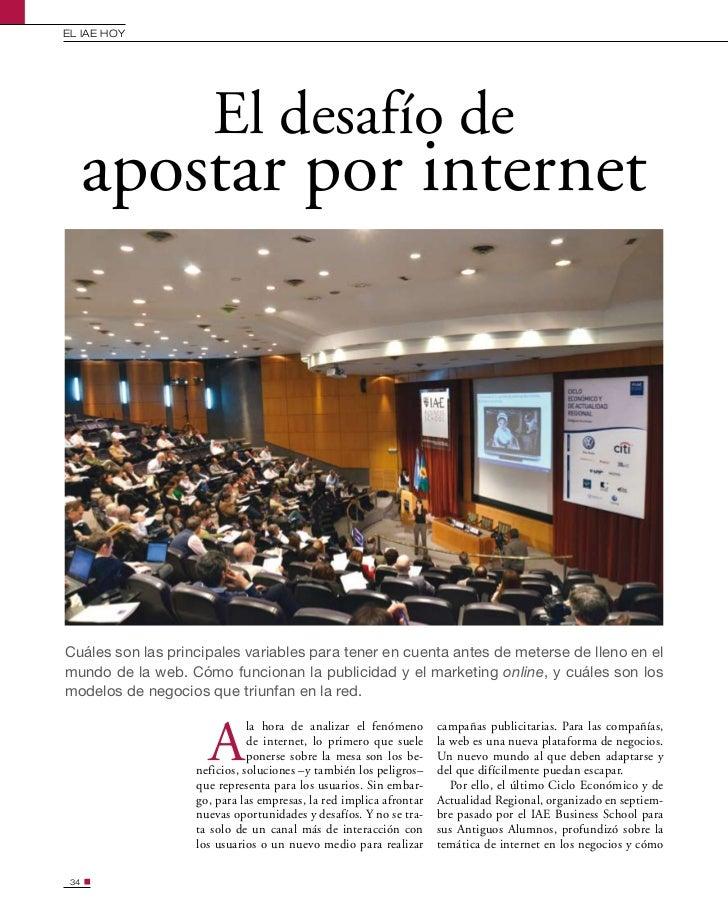 EL IAE HOy                      El desafío de      apostar por internetCuáles son las principales variables para tener en ...