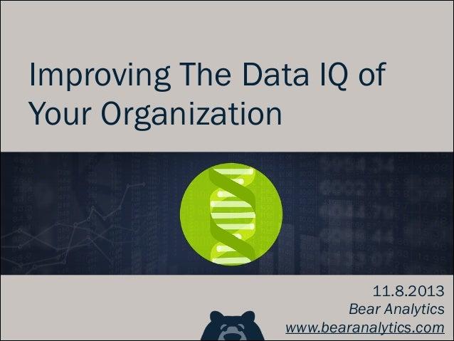Improving The Data IQ of Your Organization  11.8.2013 Bear Analytics www.bearanalytics.com