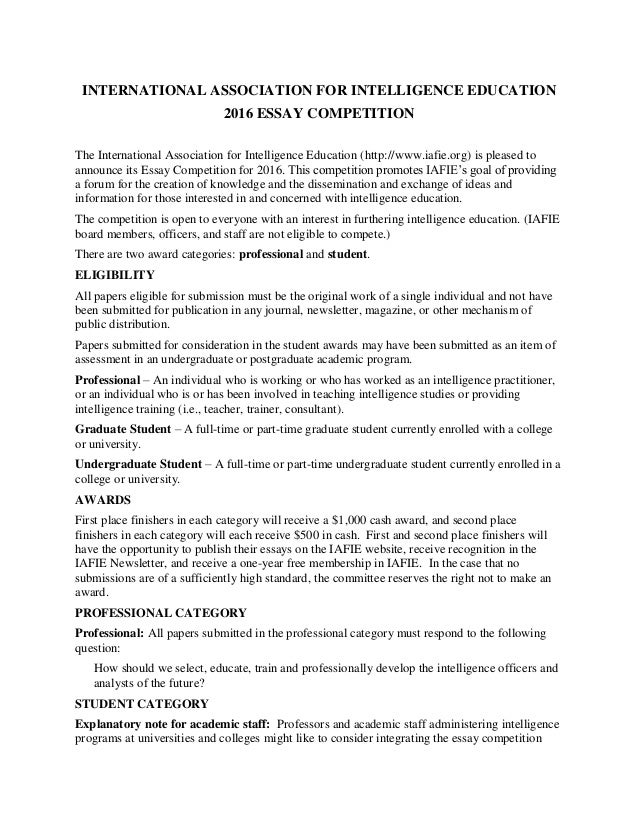 Philosophy essay competition 2016