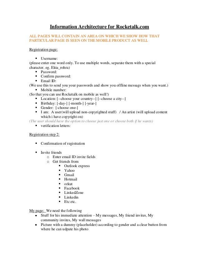 Information Architecture for Rocketalk Web