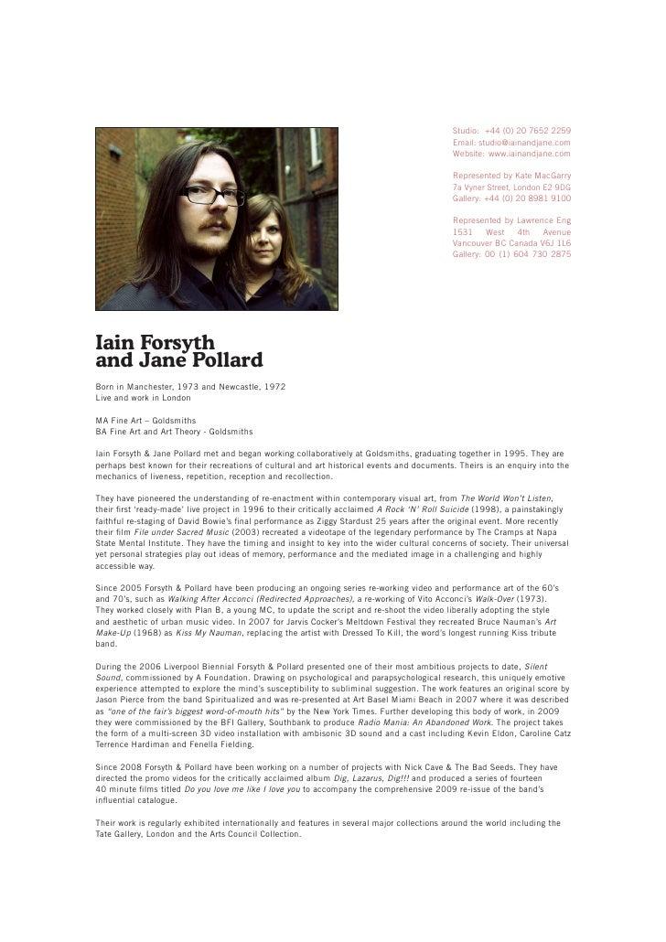 Iain Forsyth & Jane Pollard\'s CV