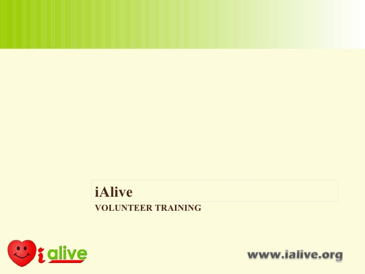 iAlive VOLUNTEER TRAINING