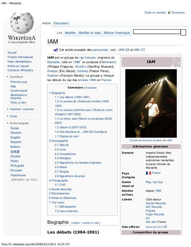 IAM - Wikipédia Créer un compte  Connexion  Article Discussion Lire Modifier Modifier le code Afficher l'historique  IAM C...