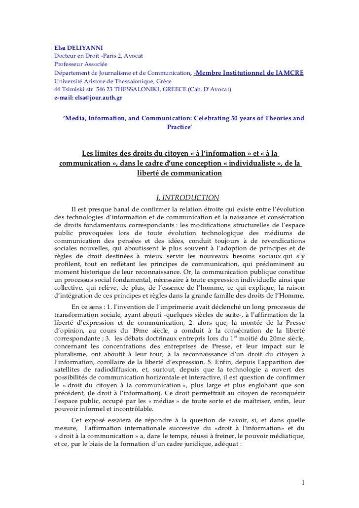 Elsa DELIYANNIDocteur en Droit -Paris 2, AvocatProfesseur AssociéeDépartement de Journalisme et de Communication, -Membre ...