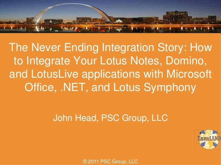 IamLUG 2011: The Never Ending Integration Story: How to Integrate Your Lotus Notes, Domino, and LotusLive applications with Microsoft Office, .NET, and Lotus Symphony