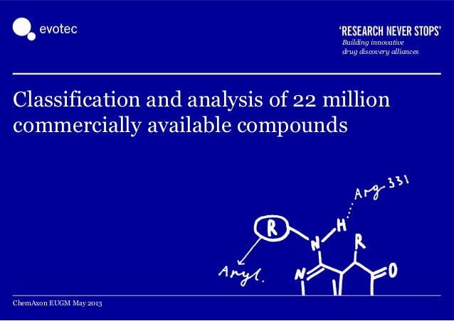 EUGM 2013 - Ian Berry, Bob Marmon (Evotec): Classification and analysis of 21 million commercially available compounds
