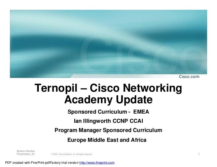 Ternopil – Cisco Networking                           Academy Update                                                  Spon...