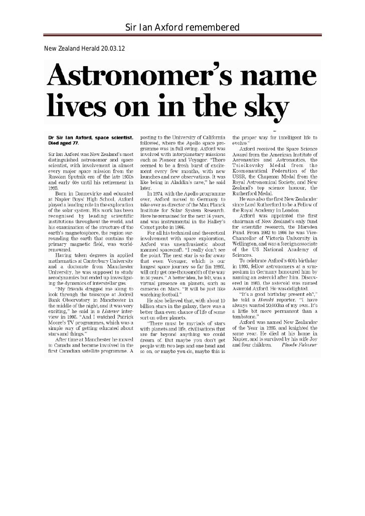 Sir Ian Axford remembered  New Zealand Herald 20.03.12