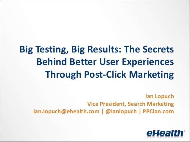 Presentation: e-HealthInsurance: Better User Experiences Through Post-click Marketing